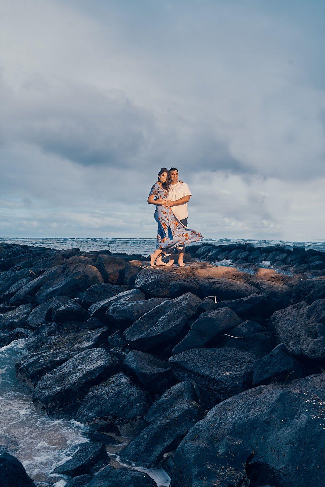 Couple's photshoot in Kapaa, Kauai